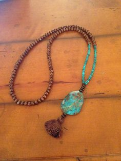 Turquoise and Wood Bead Long Tassel Necklace