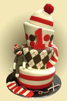 Sock monkey birthday cake! Cute cake Ashley