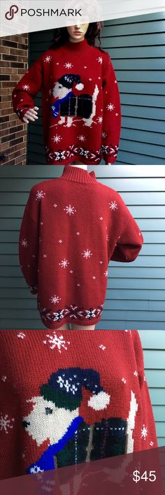 Vintage Ralph Lauren holiday sweater. ( 1998) Perfect for the dog lover in your life. Worn only on cold festive days this 100% wool cherry red sweater is in like new condition in spite of its age. I'm a size 4-6 but Large size worked well for me over leggings! Ralph Lauren Sweaters Crew & Scoop Necks