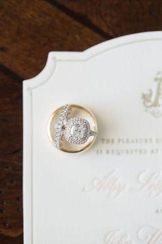 Double-Halo Engagement Ring in Gold Ring  #weddingring   #engagementring   #weddingband  Photography: Sarah Bradshaw Photography Read More:  www.insidewedding...