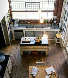 This Industrial Style Kitchen In A Large Loft Space Is A Good Example That  A Kitchen Doesnu0027t Need A Lot Of Cabinet Space. Sometimes Itu0027s A Sacrifice  You ...