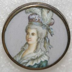 1770 French hand painted ivory in metal button.