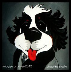 einstein  art Whimsical dog ART Bernese by tangerinestudio on Etsy, $85.00