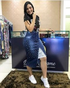 Denim Fashion, Boho Fashion, Fashion Outfits, Dress Fashion, Dress Skirt, Bodycon Dress, Denim Skirt Outfits, Mode Jeans, Jeans Rock