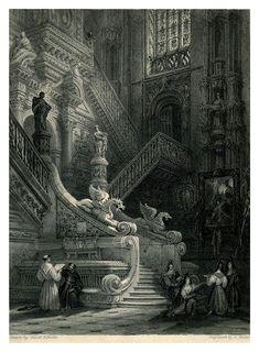 008- Escalera en el trancepto norte de la Catedral de Burg… | Flickr Vintage Drawing, Spain, Drawings, Painting, Norte, Travel Books, Stairway, Sevilla Spain, Painting Art