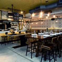 There are plenty of authentic design touches at Boqueria, such as the classic Moorish blue-and-white tiling behind the counter, and some allusions to the name - La Boqueria is one of Barcelona's famed food markets...