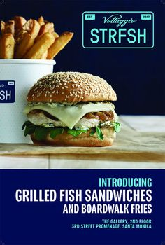 Stay healthy - eat more grilled fish...' - is how VOLTAGGIO STRFSH advertises its launch, produced by GlamPR, Los Angeles - News - GoSee Fish Sandwich, Grilled Fish, How To Stay Healthy, Fries, Sandwiches, Healthy Eating, Chicken, News, Ethnic Recipes
