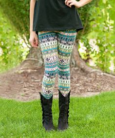Look what I found on #zulily! Pink & Mint Tribal Leggings #zulilyfinds