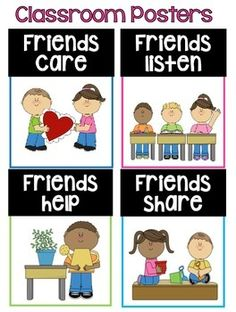 """Classroom Posters:  These adorable classroom posters come with matching letters to spell out """"We are Friends!""""   It will make an adorable mini bulletin board.  Enjoy!!"""