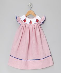 Take a look at this Red Smocked Seersucker Dress - Infant, Toddler & Girls on zulily today!