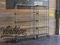 Vintage Industrial Bookshelf on Casters - Mid Century modern French Design