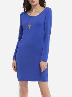 Round Neck Dacron Plain Bodycon-dress