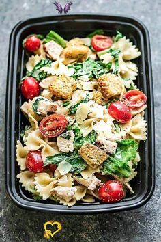 Chicken Caesar Pasta Salad - the perfect side dish to bring to summer potlucks, parties, Memorial Day / Fourth of July grillouts/barbecues. Best of all, it's so easy to make and has all the classic flavors of a caesar salad. Perfect for Sunday meal prep and leftovers are delicious for school or work lunchboxes or lunchbowls.<br>
