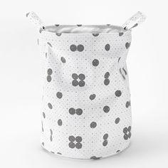 Panier � linge en coton motif pois gris et blanc Roomblush