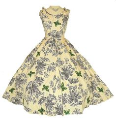 1950's Couture Floral Print Green Sequin BUTTERFLY Cotton Cocktail Dress Vintage 50's Novelty Scribble Butterflies HENRI BENDEL Party Dress