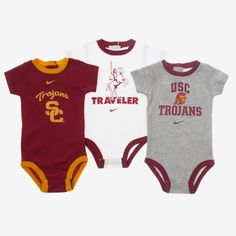 Nike College Undie Three-Piece (USC) Newborn Boys' Set
