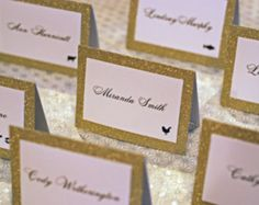 """Gold Glitter Double Layer Tented Place Cards with Meal Icons - 3 x 4"""""""