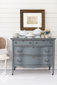 Introducing Aviary, the latest colour to arrive in the Miss Mustard Seed's Milk Paint range, a beautiful smokey blue-gray Dresser . I share some beautiful pieces painted in Aviary by other fellow furniture artisans. Gray Painted Furniture, Milk Paint Furniture, Grey Bedroom Furniture, Furniture Projects, Furniture Makeover, Cool Furniture, Modern Furniture, Painting Furniture, Online Furniture