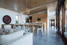 Hoop pine plywood used extensively throughout the house
