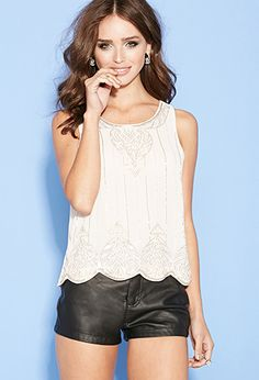Beaded Chiffon Scalloped Top   FOREVER 21 - 2000100201