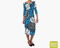 Retro blue pencil dress XS-5XL Polynesian dress Hawaiian dress women Midi dress