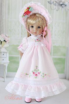 Bonnet & Heirloom Dress for Effner Little Darling doll AlenaTailorForDoll Sewing Doll Clothes, Sewing Dolls, Glitter Girl, Madame Alexander Dolls, American Girl Clothes, Heirloom Sewing, Little Darlings, Cute Dolls, Vintage Dolls
