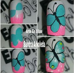 New Nail Art Design, Simple Nail Art Designs, Easy Nail Art, Nail Art Dotting Tool, Nail Disorders, Nail Drawing, Nail Art For Kids, Work Nails, Butterfly Nail Art