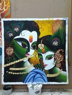 Jk Krishna Radha, Hare Krishna, Indian Art Paintings, Original Paintings, Composition Art, Krishna Painting, Hindu Art, Clay Art, Watercolor Paintings
