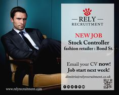 New Job Stock Controller  Full time Apply now with CV (please note this is a junior role, so we do not require lots of experience)  dimitris@relyrecruitment.co.uk