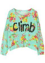 Turquoise Long Sleeve Floral Climb Print Sweatshirt