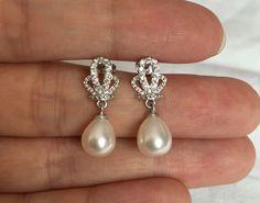 freshwater pearl earrings pearl drop earrings by jewelryTang