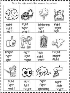 All about -igh - Long Vowel I Team igh by Shining and Climbing in First Phonics Chart, Phonics Rules, Phonics Lessons, Phonics Words, Long Vowel Worksheets, 2nd Grade Worksheets, Phonics Worksheets, Fun Phonics Activities, Teaching Phonics