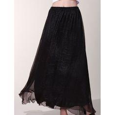 Chic Elastic Waist Chiffon Pure Color Women's Maxi Skirt — 15.42 € Size: L Color: BLACK