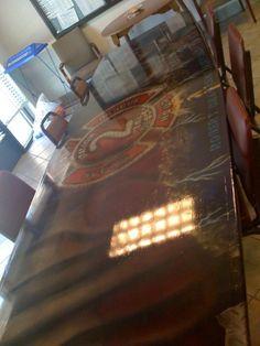 Firefighter Art. Airbrushing. Fire Station Table. Erik Holt Art