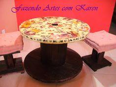 Fazendo Artes com Karen: Mesa de Carretel de Madeira