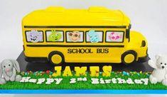 A school bus Second Birthday Ideas, 2nd Birthday, Birthday Pictures, Mermaid Birthday, School Bus Cake, Teacher Cakes, Cute Birthday Cakes, Wheels On The Bus, Just Cakes