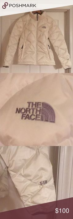 The North Face Women's Aconcagua Jacket Beautiful white North Face jacket in size large. In excellent condition! Very minor pinkish spot (pictured in last photo) on back bottom, may come out when washed. Very warm with soft collar and has soft warm pockets! The North Face Jackets & Coats Puffers