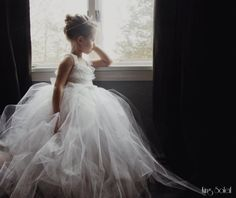 Lace and Tulle Flower Girl Dress Tutu Satin Sash White - Queen Anne's Lace