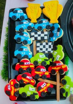 Disney Cars birthday party cookies! See more party planning ideas at CatchMyParty.com!
