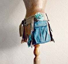 Upcycled Jeans Women's Fanny Pack Boho Hip by BrokenGhostClothing,