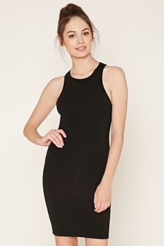 A sleeveless dress crafted from stretch knit with a bodycon fit.