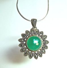 Marcasite and Chrysoprase Necklace and Earring Set by Vinphemera, $98.00