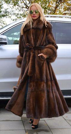 Mink and sable fur coat