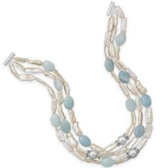 "#LE1158-MMA, 16""-18"" Sterling Silver Triple Strand Baroque Pearl & Amazonite Necklace, Nathalie's Jeweler 936-242-3498"