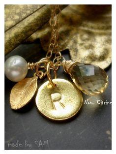 Etsy,madebysam. Personalized Necklace, gold leaf 14k, Initial Disk...