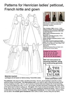 A complete Tudor costume in one pattern. Includes petticoat, French kirtle and gown patterns in various styles - all the layers a lady requires aside from a smock. Ideal for Anne Boleyn, Jane Seymour, Princess Elizabeth and other ladies c1530-1560. Larger sizes. Multiple sizes included (US 16-24, UK 18-26; also available in smaller sizes). With full instructions for choosing materials, sizing and construction.