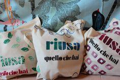 vetrina bag o2italia Shopper Bag, Bago, Reusable Tote Bags, Homemade, Home Made, Diy