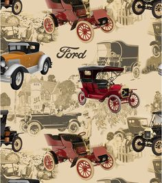 Ford Model T Vintage Cotton Fabric