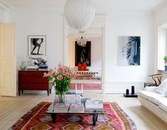 sala de estar - que muestra que una alfombra Kilim es una muy buena idea