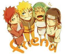 Naruto, Gaara, Fuu, Neji, friend, text, cute; Naruto